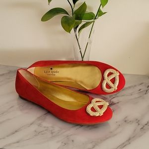 Kate Spade Red Telly Flats- Size 8